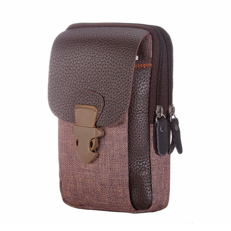 Men's Tactical Leather Waist Pack Outdoor Belt Zipper Phone Bag Coin Purse Wallet PU Leather Fanny Bag Dress  Male Belt Bag