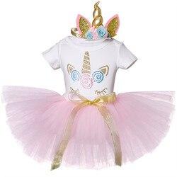 1 ano menina do bebê vestido de aniversário unicórnio vestido de festa bordado vestido de batismo rosa bebê menina outfits criança roupas de bebê