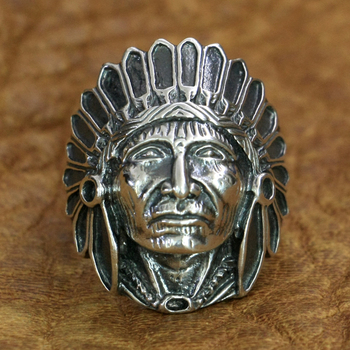 LINSION 925 Sterling Silver Indian Chief Ring Mens Biker Punk Ring TA196 US Size 7~15