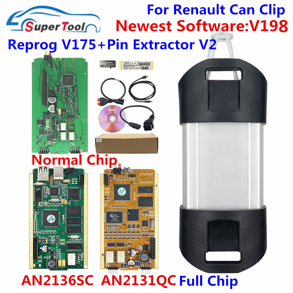 Pode clipe v198 relação de diagnóstico para renault pode clipe 196 ouro pcb v178 com nec relé an2131qc an2135sc completo chip + reprog v175
