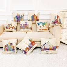 Famous place Print poszewka na poduszkę 45x45cm poszewki na poduszki poduszka do pokoju dziennego obejmuje kolorowe lniana poszewka na poduszkę