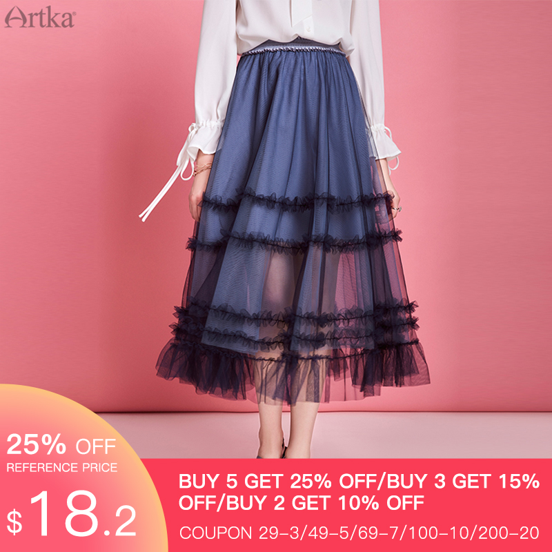 ARTKA 2020 Spring Summer New Women Skirt Elegant Sweet Cake Long Mesh Skirts Princess Elastic Waist Tulle Skirts Women QA20004X