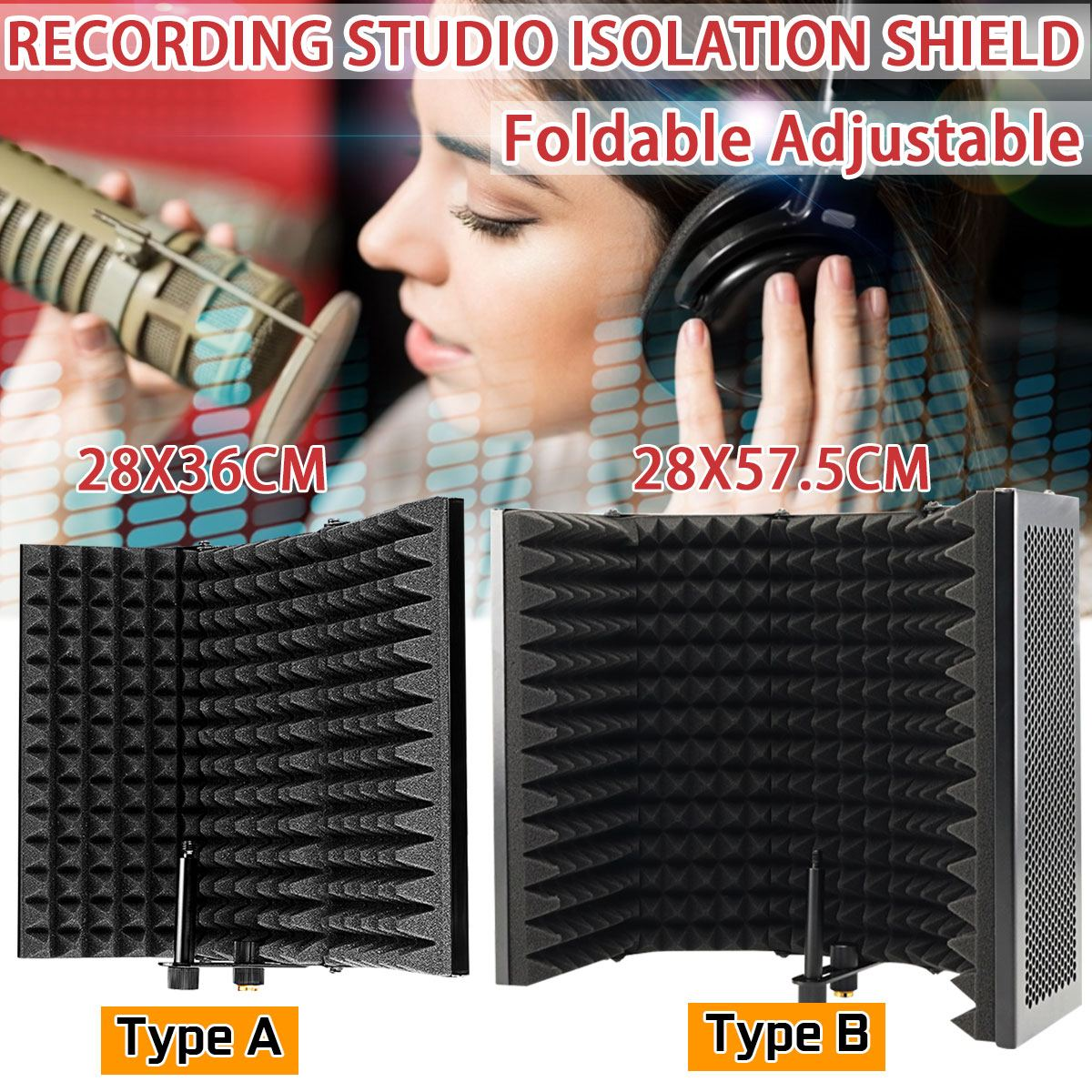 Foldable Microphone Acoustic Isolation Shield Acoustic Foams Panel Studio For Recording Live Broadcast Microphone Accessories 4.