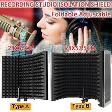 Protector de aislamiento acústico para micrófono plegable, Panel de espuma acústica para grabación en vivo, accesorios para micrófono
