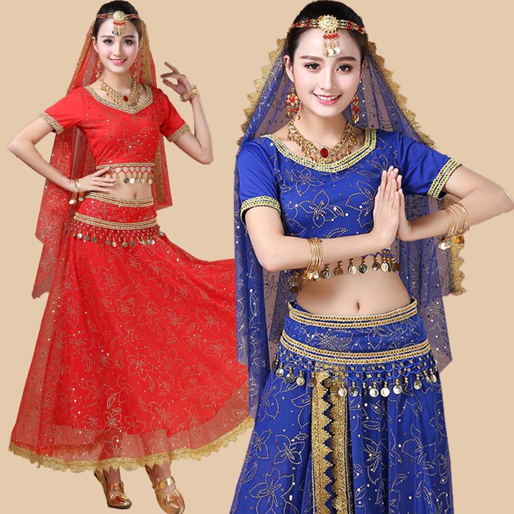 Indian Dance Costumes Bollywood Dress Sari Dancewear Women/Children Belly Dance Costume