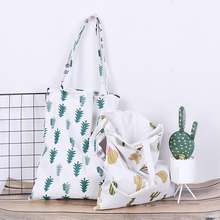 1pc Pine Cactus Linen Bag Tote ECO Shopping Outdoor Canvas Shoulder Bags Casual Tote for Ladies Large Capacity