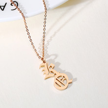 Women Initials Custom Letter Necklace Gold Color Stainless Steel Personalized Name Necklaces Old English Font Christmas Gifts(China)