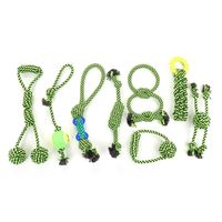 8Pcs/set Green Dog Rope Chew Tug Toys Teeth Cleaning Assortment for All Size Pet T8WE