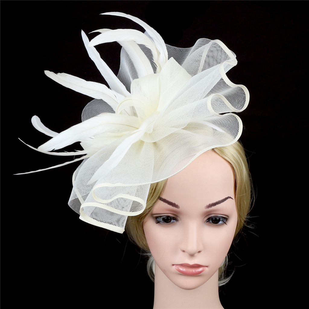 FACINATORS flower /&  FEATHER  ON  matching HEADBAND  in 3 colours