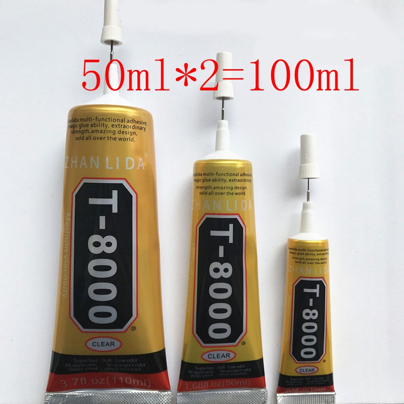 2Pcs 50ml Industrial Strength Adhesive, T8000 Clear Liquid Glue For Phone Touch Screen DIY Jewerly Craft Rhinestone Frame Glue