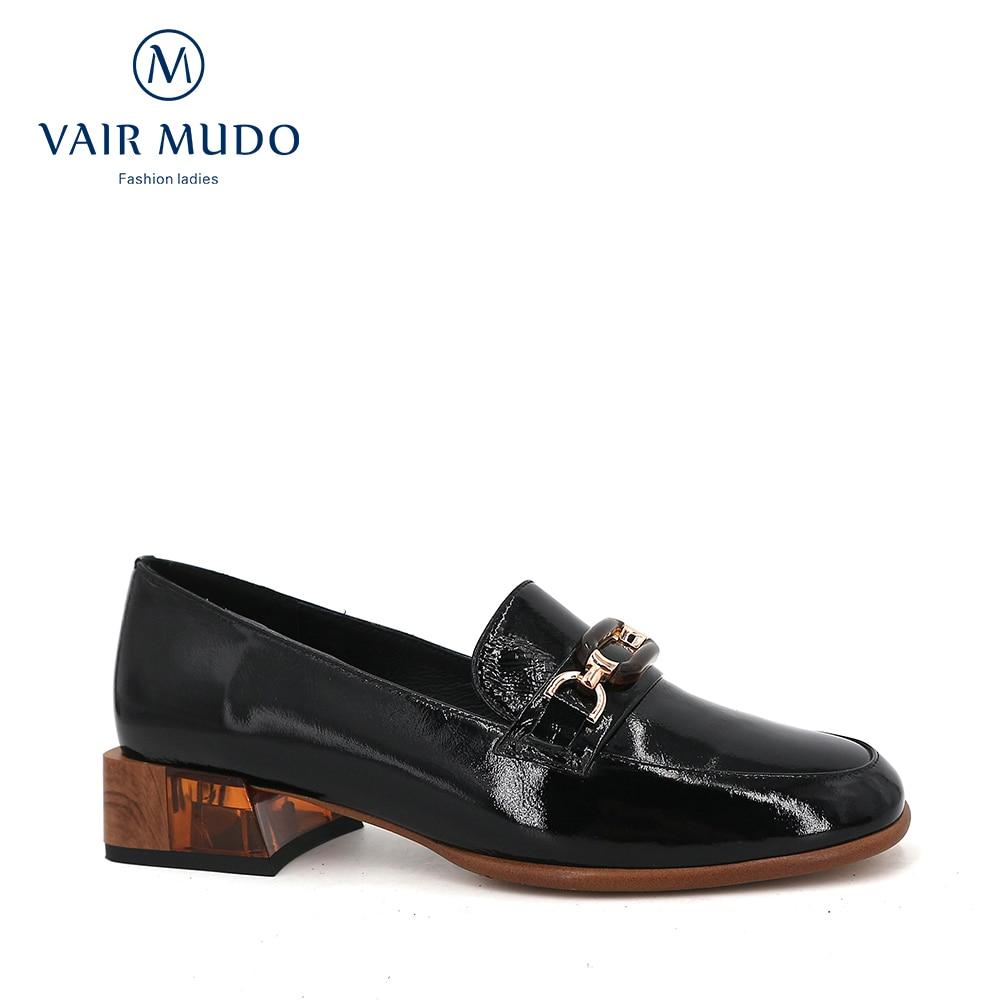 VAIR MUDO 2020 Fashion Women Pumps Shoes Ladies Black Thick Heel Spring Autumn Genuine Leather Shoes Women Round Office  D125
