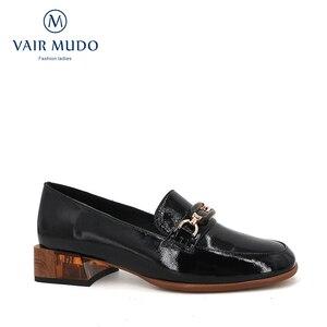 Image 1 - VAIR MUDO/модные женские туфли лодочки; Женские черные туфли из натуральной кожи на толстом каблуке; Сезон весна осень; Женские офисные туфли с круглым носком; 2020