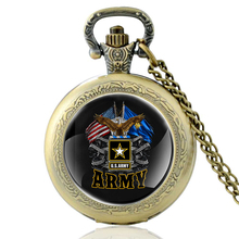 High Quality Vintage US Army Eagle Glass Dome Quartz Pocket Watch Men Women Military Necklace Pendant Gifts