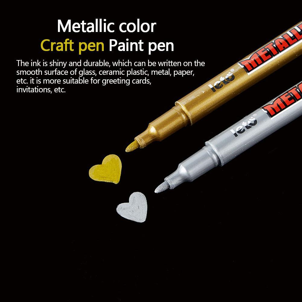 1PC DIY Metal Waterproof Permanent Paint Marker Pens Sharpie Gold And Silver 1.5mm Student Supplies Craftwork Pen Art Painting