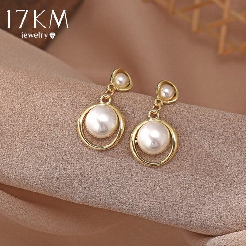 17KM Vintage Pearl Star Earrings For Women Girls Big Geometric Oversize Grop Earring Hollow Dangle Earrings NEW Jewely