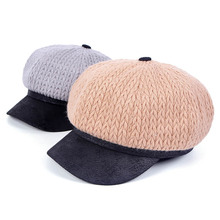 Autumn Winter French Beret Hat Warm Knitted Wool Octagonal Ladies Baseball Painter