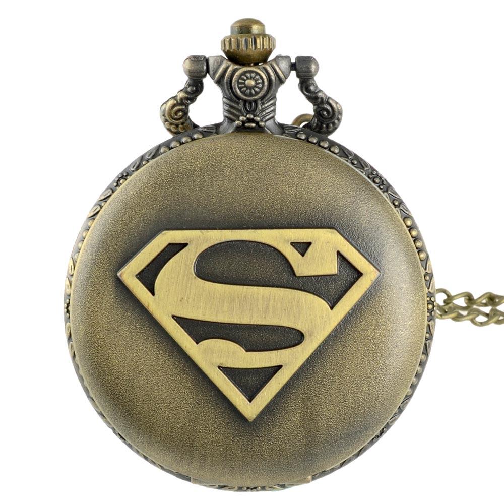 New Arrivals Bronze Superman Quartz Pocket Watch Classic Vintage Men Women Pendant Necklace Gift