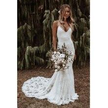 Богемные белые свадебные платья русалки 2020 с v образным вырезом