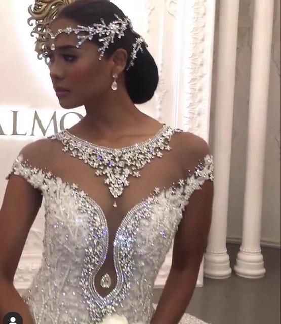 Nach Maß Meerjungfrau Spitze Kristall Perlen Diamant Sexy Luxuriöse Hochzeit Kleider RP38