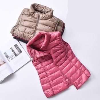 2020 nouveau femmes 90% blanc canard vers le bas gilet femmes Ultra léger canard vers le bas gilet veste automne hiver col haut sans manches manteau 1