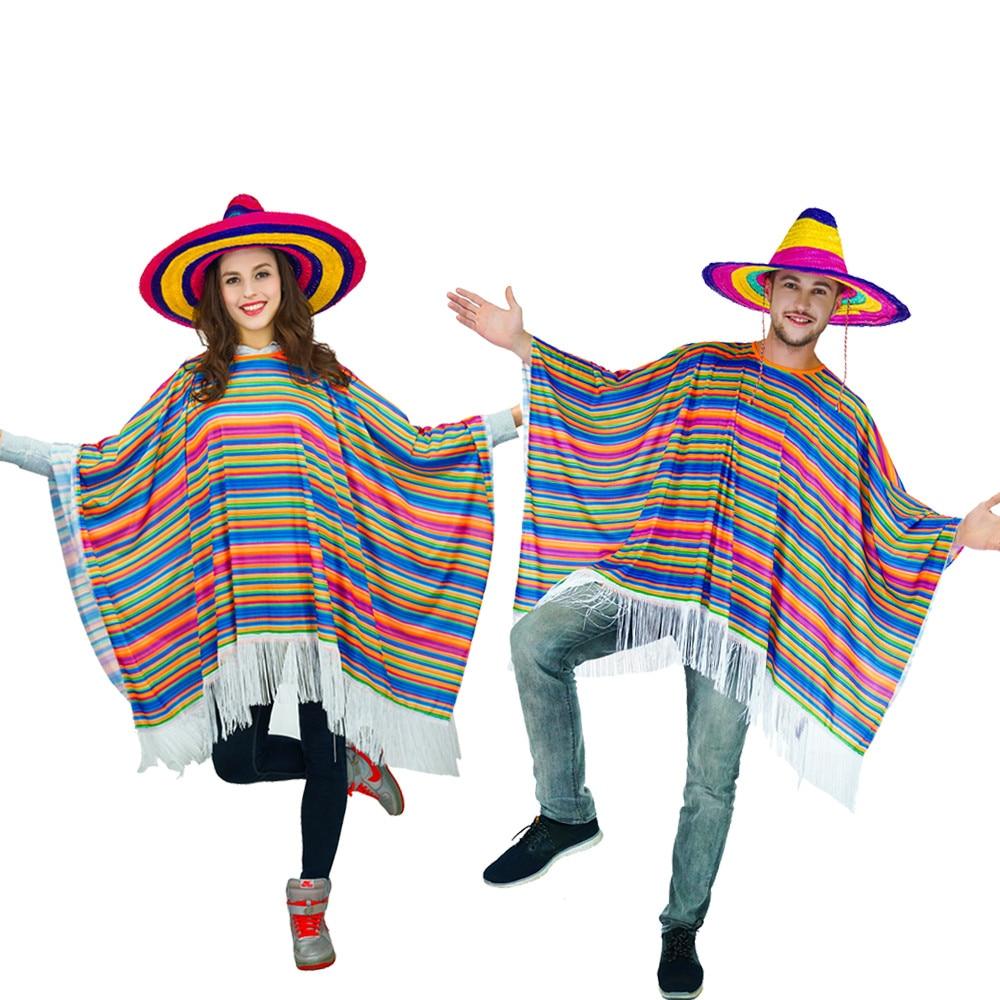 ADULT/'S MEXICAN PONCHO AMIGO MEXICAN MARIACHI FANCY DRESS