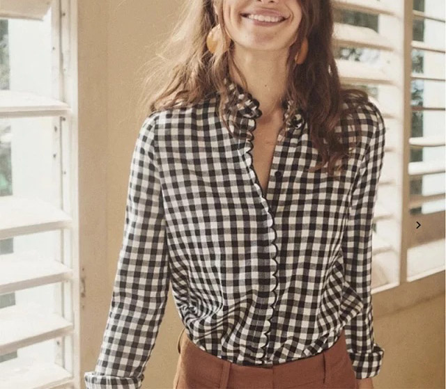 Women Shirt Autumn and Winter New Versatile Fashion Wooden Ear Black and White Plaid Long sleeved Shirt Top
