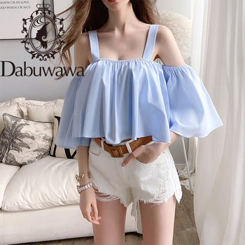 цена на Dabuwawa Sexy Blue Ruffle Sleeve Off Shoulder Short Blouse Women Loose Fit Solid Summer Womens Shirts and Blouses DT1BST028