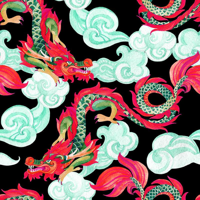 Polyester Dragon Cetak Kain untuk Gaun Kustom Digital Printing Kain Tipis Peregangan Kain Diy Pakaian Kemeja
