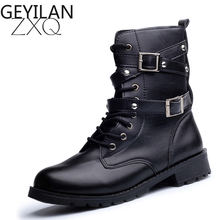 Hot Sale Fashion Women Motorcycle Boots Ladies Vintage Rivet Combat Army Punk Goth Ankle Shoes Biker Leather Autumn women boots(China)