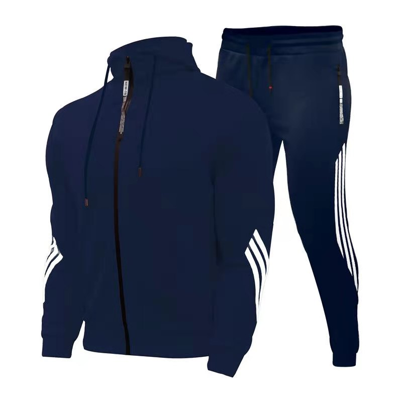 Men Hooded Jacket Sports Suit Men's Stitching Fashion Casual Track Suit Polyester Fabric Zipper Cardigan Sportswear Sports Pants