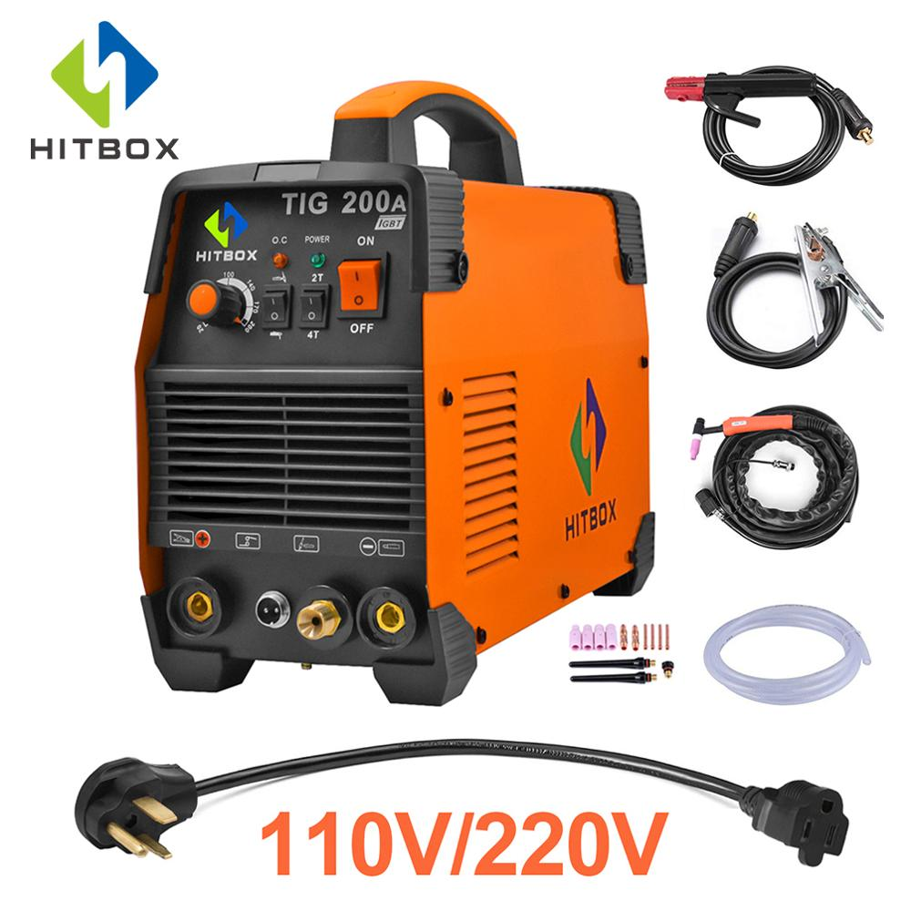 HITBOX Tig Welder WSE 200A TIG MMA 110V 220V Argon Tig 2T 4T Control Welding Machine Stainless Steel Iron IGBT Technology