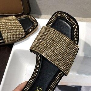 Image 5 - SHOFORT נשים נעלי אופנה נעליים מגניבים קיץ חיצוני נעלי מזדמנים נעלי בית נעלי בית תחתון החלקה ריינסטון בלינג