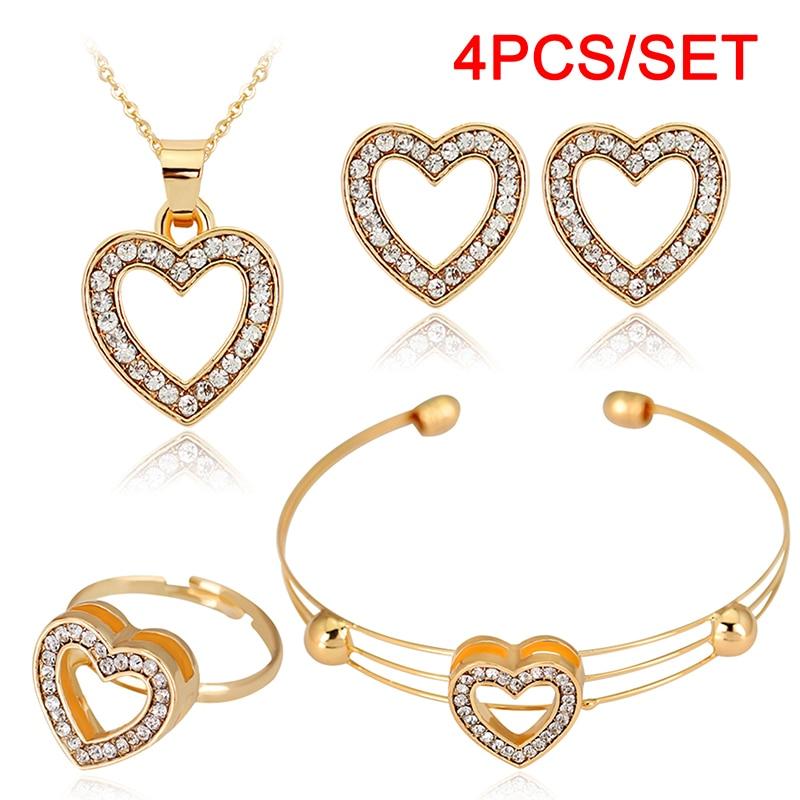 4pcs/lot Heart Shaped Bracelet Neclace Earrings Sets Jewelry Crystal Lovely Gold Color Jewelry Sets For Women Girl-0