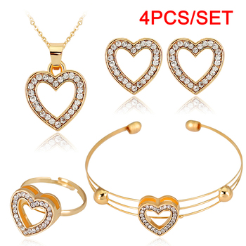 4pcs/lot Heart Shaped Bracelet Neclace Earrings Sets Jewelry Crystal Lovely Gold Color Jewelry Sets For Women Girl