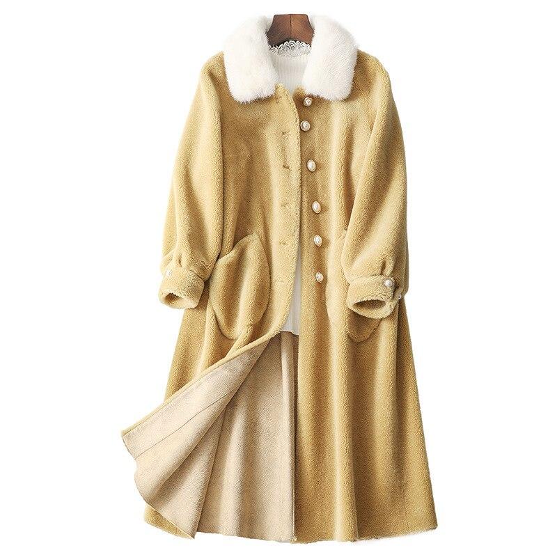 Real Fur Coat Streetwear Mink Fur Collar Wool Jacket Autumn Winter Coat Women Clothes 2020 Korean Vintage Tops Suede Lining 3304