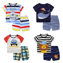 Summer children clothing sets cartoon toddler girls top+pant 2Pcs/sets kids casual boys clothes sport suits outfit