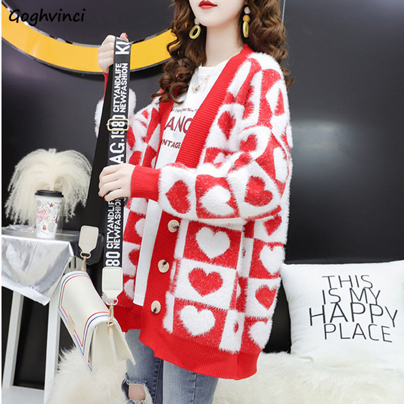 Sweaters Women Cardigan Print Single Breasted Lovely Oversized Warm All-match Student Korean Style Womens Fashion Soft Detailed