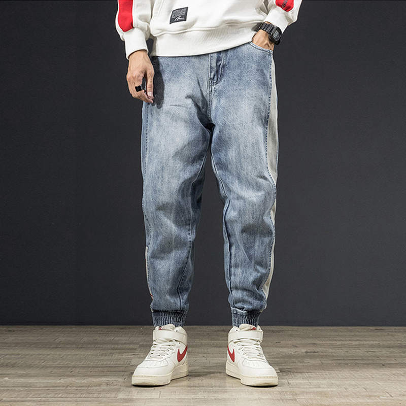 American Street Fashion Men Jeans Loose Fit Stripe Designer Harem Jeans Cargo Pants Embroidery Spliced Hip Hop Joggers Jeans Men