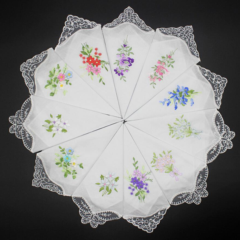 5 Pcs Women Ladies 60S Cotton Handkerchiefs Square Hankerchief Floral Embroidered With Lace Butterfly Edge