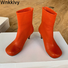 Short Boots Runway Shoes Stretch High-Heels Female Sexy Autumn Winter Genuine-Leather