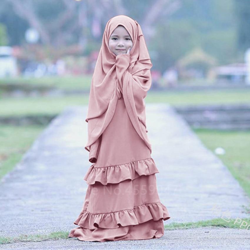 2020 Muslim Dress Kid Abaya For Girl Dubai Kaftan Islamic Clothing Children Ramadan Prayer Jubba Middle East Hijab Dress Turkish