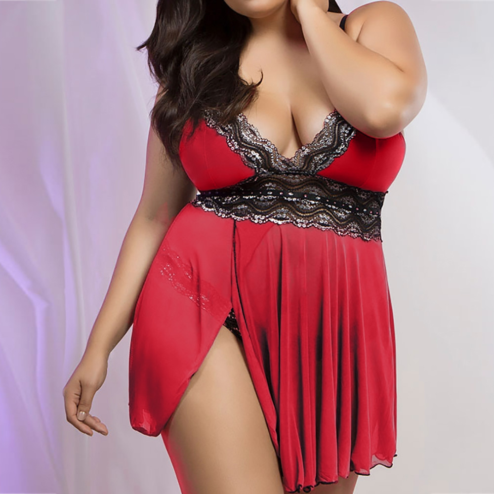 New Red Women Lingerie Babydoll Bowknot Sleepwear Underwear Lace Dress+G-string Seamless Soft Plus Size XXL Chemises sex clothes image