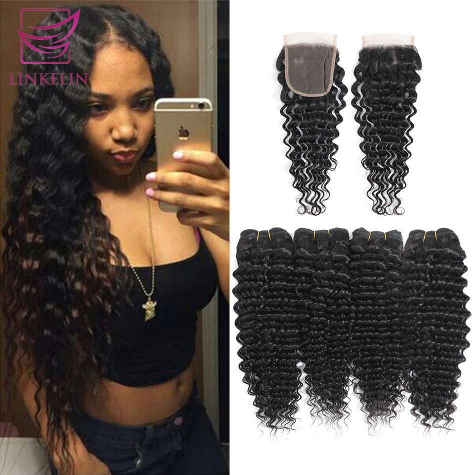 LINKELIN Human Hair Bundles With Closure Peruvian Deep Wave Hair Bundles With Closure Remy Hair 4 Bundles With Closure