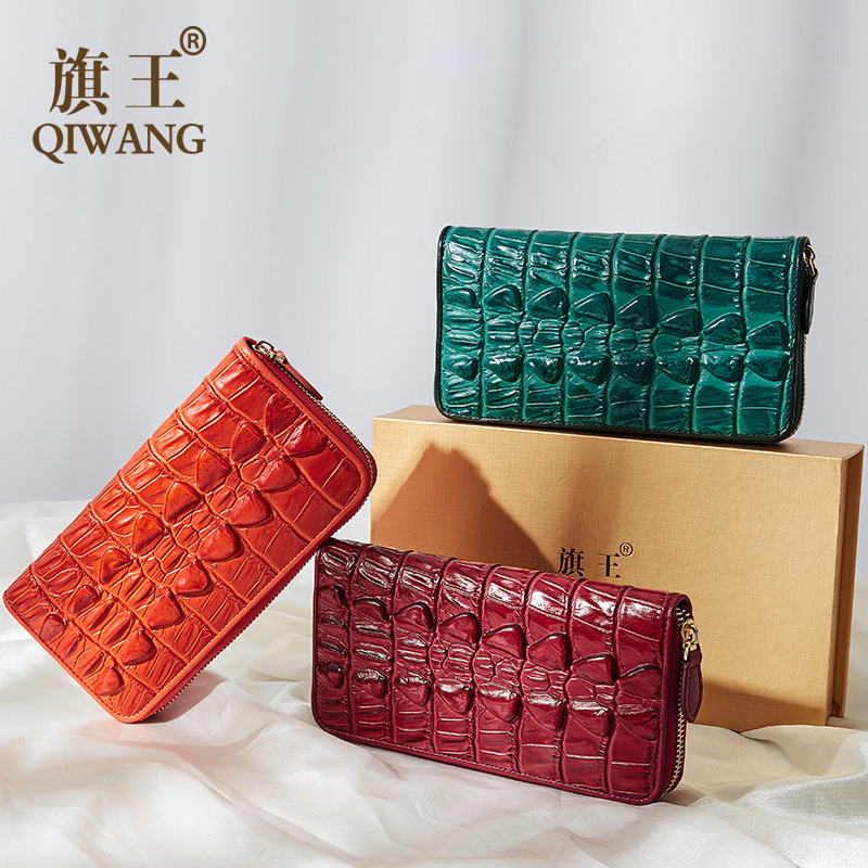 Genuine Crocodile Leather Wallet Women Coin Pocket 2019 Ladies Embossed Leather Phone Wallets Green Multiple Card Holder Purse