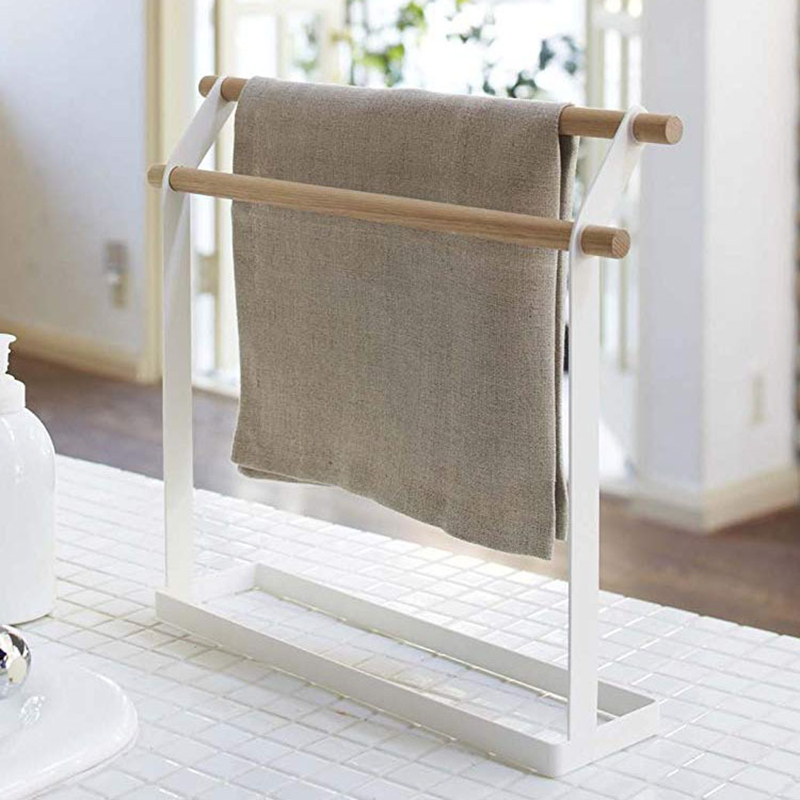 Wrought Iron Vertical Towel Shelf Multi-Function Movable Storage Rack Save Space Kitchen Accessories Home Storage Organization