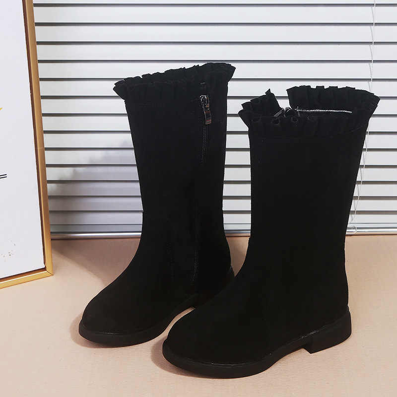 Yeni varış kızlar nubuk deri çizmeler orta buzağı prenses Vintage çizmeler çocuk yumuşak ayakkabı kaymaz Botas size26-37