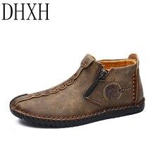 DHXH/; осенне-зимняя обувь; мужские ботинки; повседневные кожаные мужские Ботильоны на молнии; мужские кожаные ботинки «Челси»; большие размеры 38-48