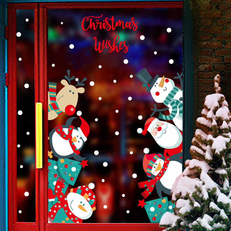 Qt On Christmas Day 2021 2021 Wall Stickers New Year Christmas Stickers Cute Diy Pattern Children Room Restaurant Glass Window Christmas Decoration Wall Stickers Aliexpress