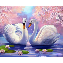 цена на Painting By Numbers Canvas Painting Animal Swan Oil Colouring Paints By Numbers Canvas Painting Home Decor 50x40cm Full Kits