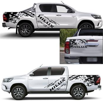 Car decals 3 pieces mudslinger side door tail door 4x4 off road  graphic Vinyl car sticker custom fit for toyota hilux 2011-2019 dsm 2